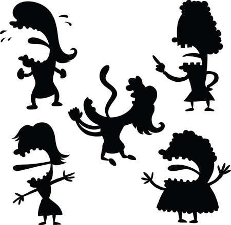 frown: A cartoon set of upset women silhouettes. Illustration