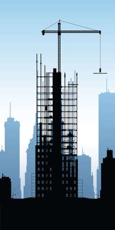 building construction: Cartoon silhouette of a skyscraper under construction. Illustration