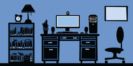 pc: Cartoon silhouette of a home office. Illustration