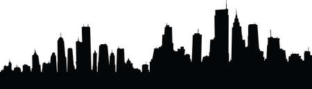 business district: Generic cartoon skyline silhouette of a large city. Illustration