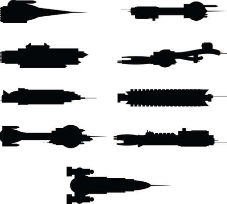 starship: A set of cartoon spaceship silhouettes.