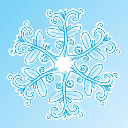 A cartoon snowflake in winter. Ilustrace