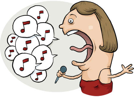 sings: A cartoon woman singer performing many notes. Illustration