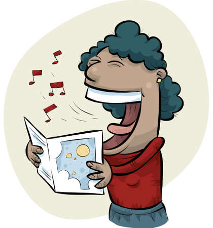 songbook: A cartoon woman sings while holding sheet music.