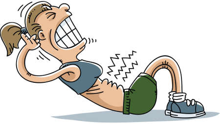 A cartoon woman strains to do situps.