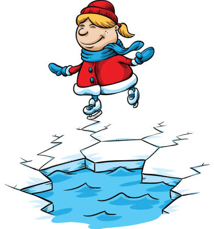 A cartoon girl skates close to a dangerous hole in the ice.