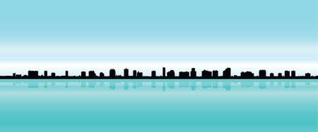 naples: Skyline silhouette of the city of Naples, Florida, USA.