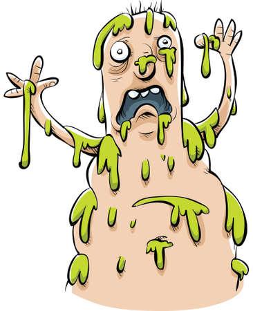 Un homme de dessin animé réagit d'être éclaboussé par la boue verte. Banque d'images - 29643147