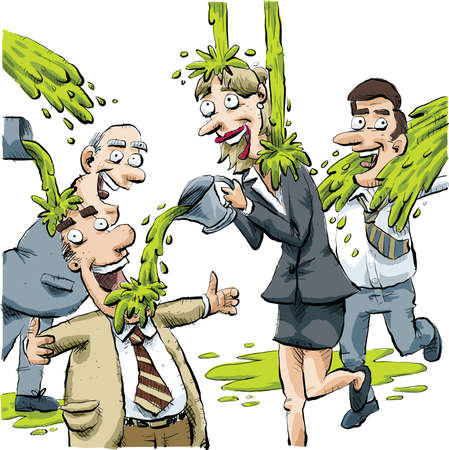 slime: A group of businessmen and businesswomen play fight with green slime. Illustration