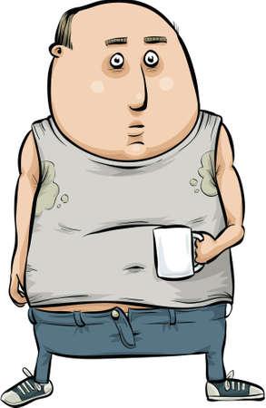 slob: A cartoon man is a slob as he enjoys his coffee.
