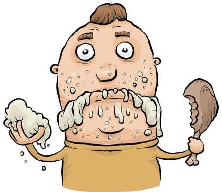 slob: A cartoon man eating like a slob.