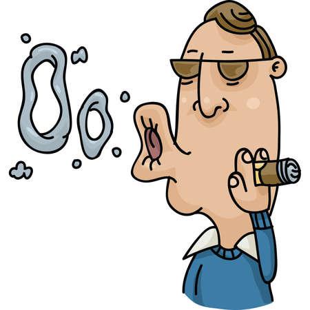 showoff: A cartoon man blows smoke rings with cigar smoke. Illustration