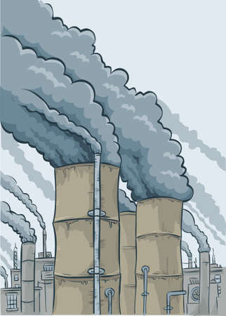 Thick, black cartoon smoke billows out of a group of factory smokestacks. Vector