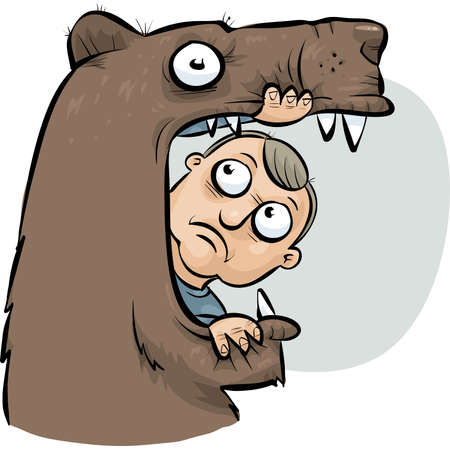 A cartoon man becomes a snack for a hungry bear. Vector