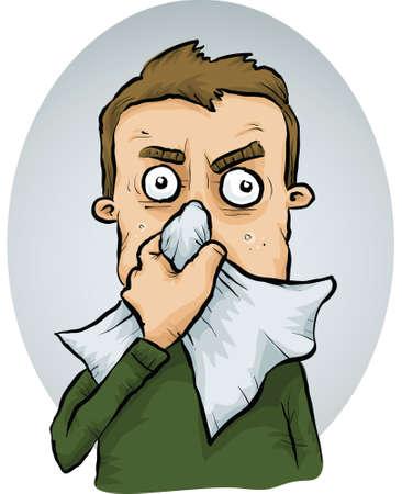 A cartoon man sneezes into a tissue. Illustration