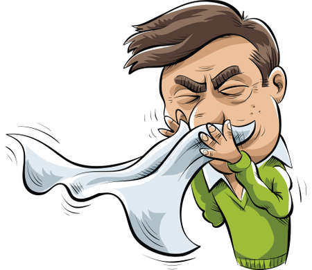 A cartoon man sneezes into a tissue. Illustration