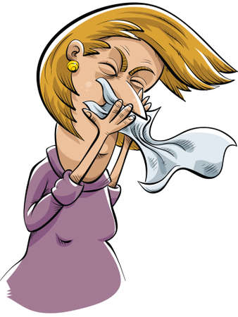A cartoon woman sneezes into a tissue. Illustration
