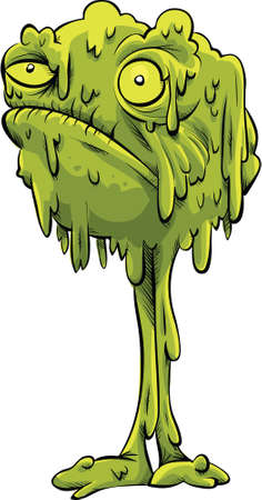 Een cartoon monster bal snot staande op twee benen.