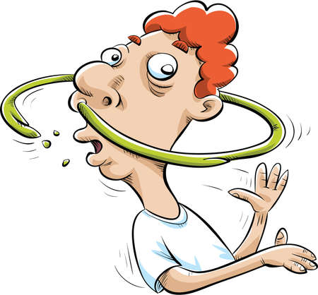 A cartoon man spins and makes a ring of snot around his head. Vector
