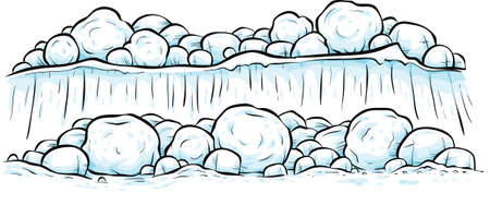 A cartoon snowscape featuring a cliff and boulders of snow.