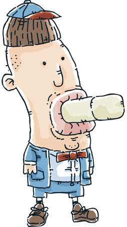naughty boy: A naughty cartoon boy with a bar of soap in his mouth.