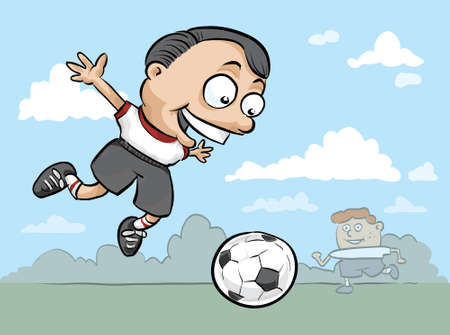 A cartoon boy jumps high to kick a soccer ball.