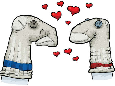Two cartoon sock puppets falling in love.