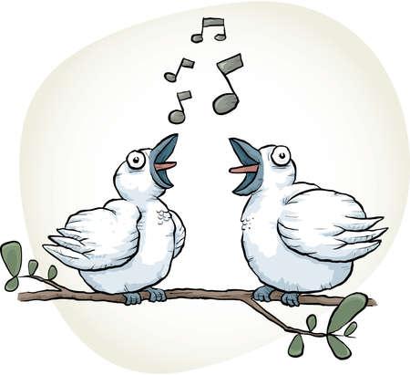 songbird: Two cartoon songbirds sing together.