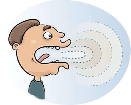 geluidsgolven: Geluidsgolven komen uit een sprekende cartoon man's mond. Stock Illustratie
