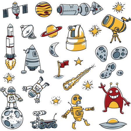 moon rover: A collection of cartoon space images.