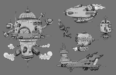 A collection of cartoon spaceships.