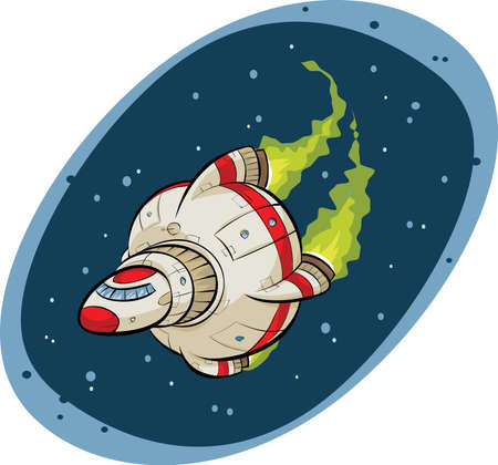 A cartoon spaceship on a mission flying through space.