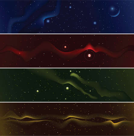 starfield: Set of four starfield banners.