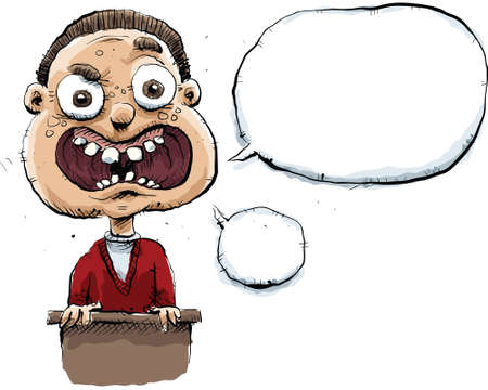 insecure: An awkward cartoon man makes a speech with blank speech bubbles.