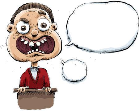 Een onhandige cartoon man maakt een toespraak met lege tekstballonnen.