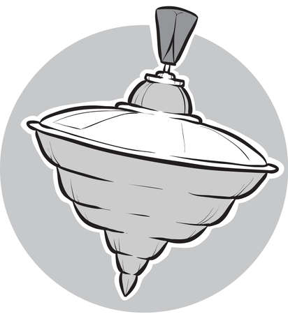 spinning: A cartoon spinning top toy. Illustration