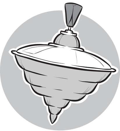 spinning: A cartoon spinning top toy. Illustration