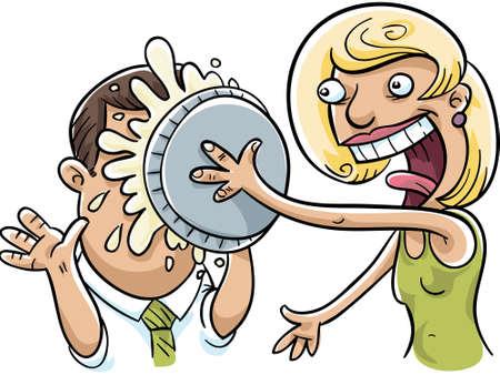 woman face cream: A woman splats a cream pie in a mans face.