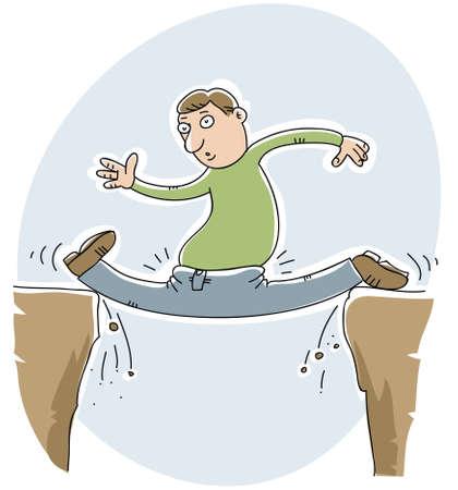 flexible: A cartoon man gets trapped doing the splits in a gap between tow rock cliffs.