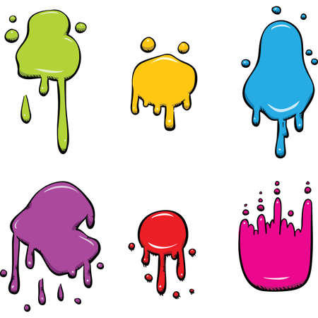 wet: Set of wet, cartoon color splotches.