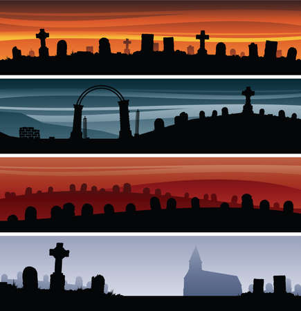 graveyard: Set of cartoon graveyard banners.