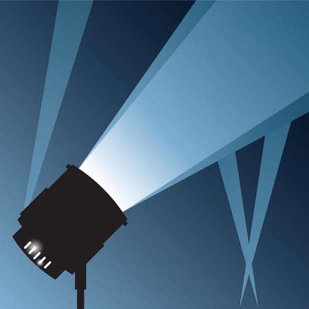spotlight: A bright spotlight, beaming into the night.