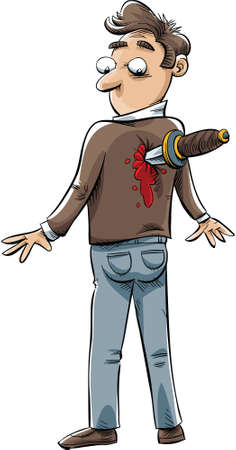 bleeding: A cartoon man who has been stabbed in the back by a knife.