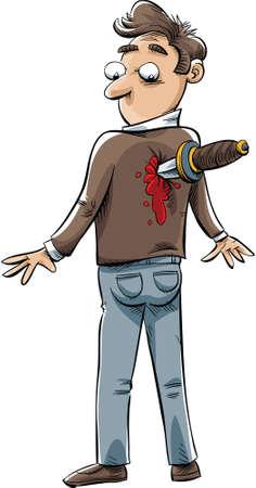 stabbed: Un hombre de dibujos animados que ha sido apu�alado en la espalda por un cuchillo.