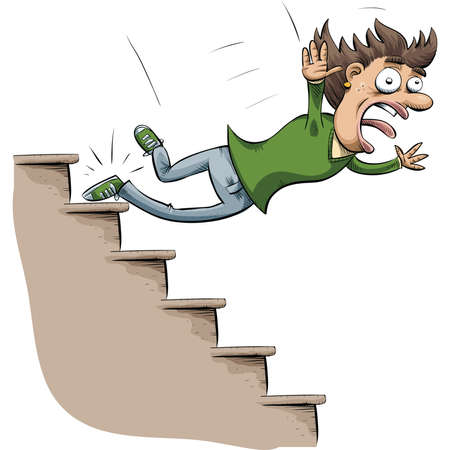 A cartoon woman trips and falls down stairs. Illustration