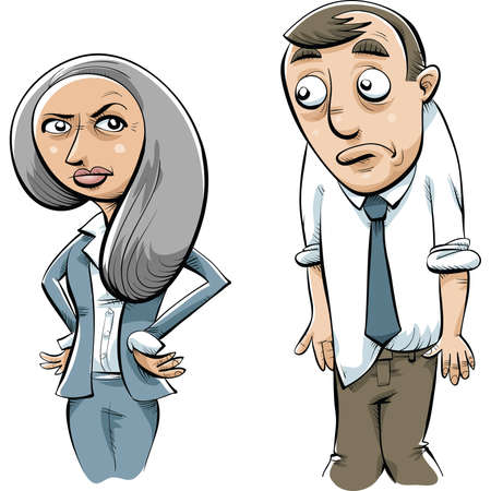stern: A serious, cartoon businesswoman gives her coworker a stern look.
