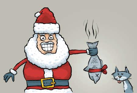 stinky: Cartoon Santa Claus rewards a good cat with a stinky fish gift.