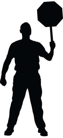 A silhouette of a man holding a stop sign.