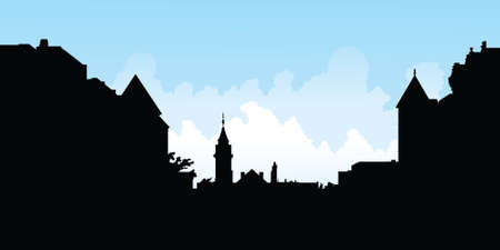 main street: Skyline silhouette of the town of Stratford, Ontario, Canada.
