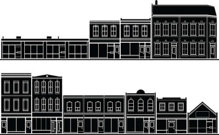 A collection of building facade silhouettes for creating streetscapes.